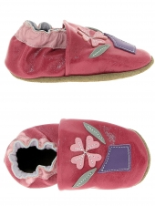 chaussures layette bellamy fleurs rose