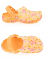 sabots en plastique crocs translucent clog kids bubbles orange