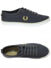 chaussures en toile fred perry hallam twill gris