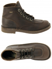 bottines casual kickers kick col marron