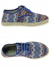 chaussures basses en toile natural world blucher yute bleu
