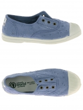 chaussures en toile natural world ingles bordado tintado bleu