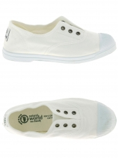 chaussures en toile natural world ingles elastico tintado blanc