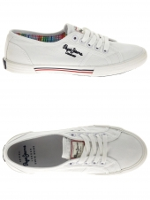 chaussures en toile pepe jeans aberlady blanc