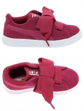 chaussures basses puma basket heart glam rose
