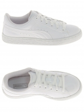 chaussures basses puma basket patent blanc