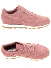 baskets mode reebok cl leather clean rose