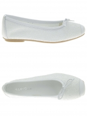 chaussures basses de style ballerine reqins harmony jr glitter blanc