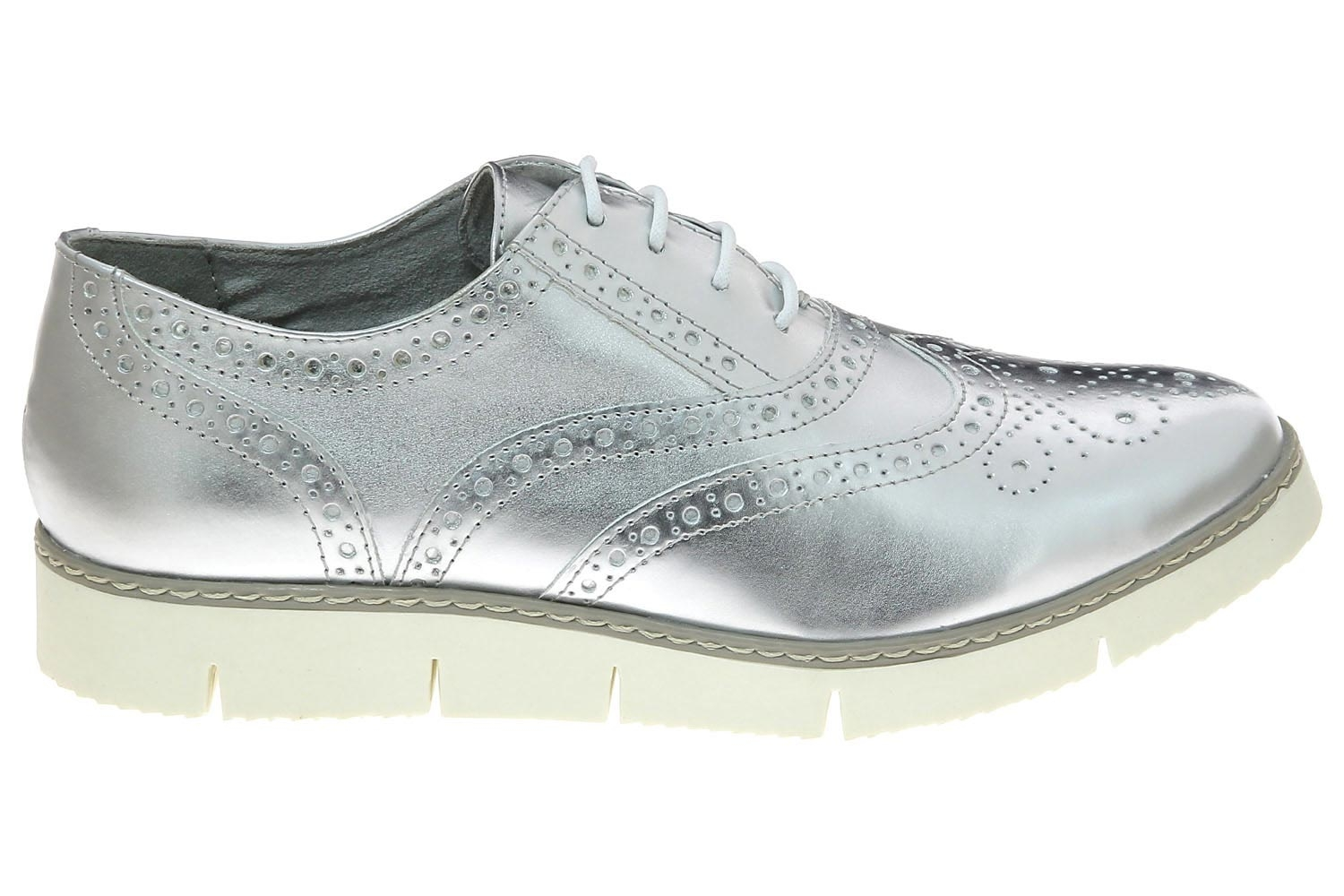 9fbbf53999877 Chaussures plates marco tozzi argent