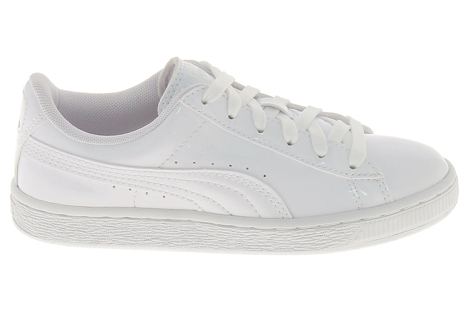 Chaussures Pour Blanc Basses Patent Basket Puma Fille IH92YEWD