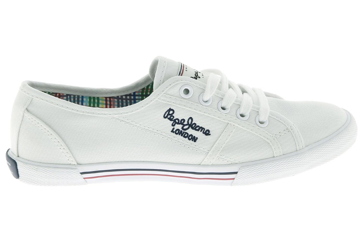 2f8177c1395 Chaussures en toile pepe jeans blanc aberlady chaussures femme pepe ...