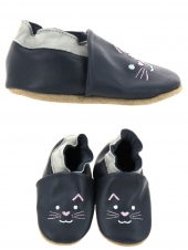 chaussures layette bellamy chat bleu