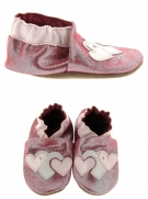 chaussures layette bellamy coeurs rose