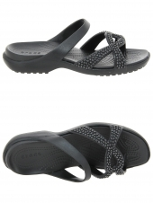 mules en plastique crocs meleen twist diamante noir