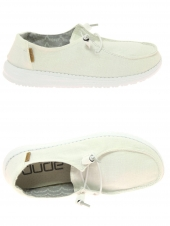 chaussures basses en toile dude wendy chambray blanc