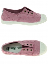 chaussures en toile natural world ingles bordado tintado rose