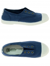 chaussures en toile natural world ingles elastico tintado bleu