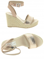 espadrilles tommy jeans en0en00236 metallic wedge rose