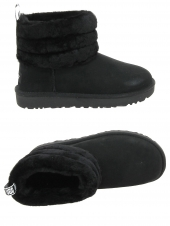 chaussures montantes fourrees ugg fluff mini quilted noir