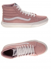 baskets mode vans sk8-hi slim rose